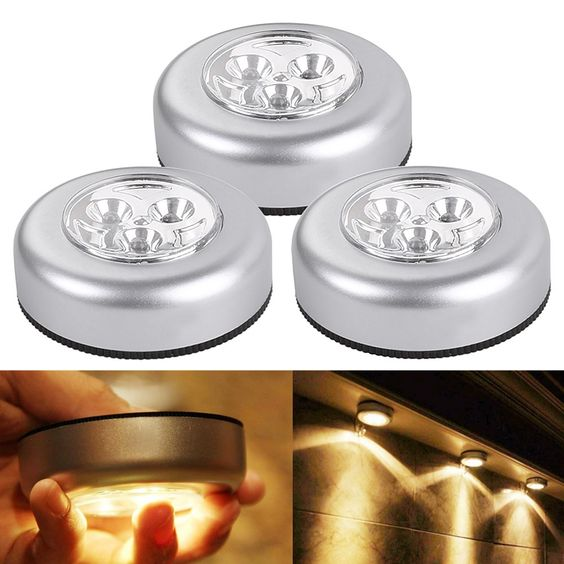3 LED Puck Light Bulbs, Pack of 3 Units, Battery Powered Tap Light, Warm White Kitchen Cabinet Lights
