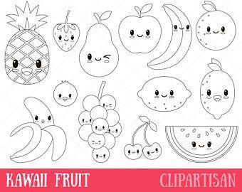 Kawaii Fruit Cute Fruit Clipart Happy Fruit Clip Art Fruit Coloring Pages Kawaii Fruit Cute Coloring Pages
