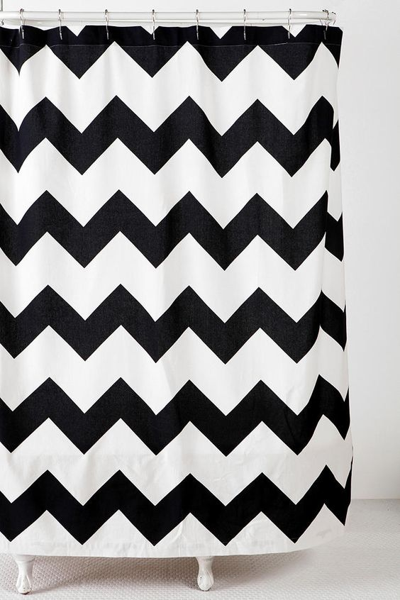 Zigzag Shower Curtain  #UrbanOutfitters  for our new black and white with teal accents bathroom!