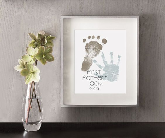 First Father's Day Art Print - Personalized Hand and Foot Prints - Gift Idea, Fathers Day Gift, Gift for New Dad, Hand Print, Foot Print