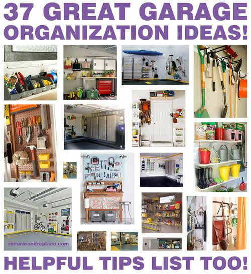 Excellent - some less expensive, some ingenious uses of familiar things, some pretty purchases - something for everyone! 37 Organized Garage Ideas and Storage Tips!