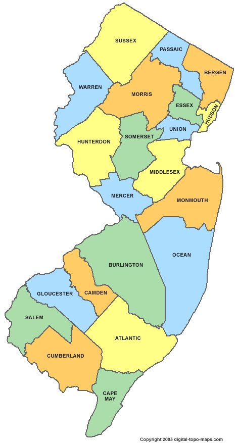 Counties Of NJ Places Spaces Pinterest Jersey Girl Surf - Map of nj counties