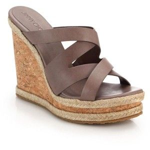 Jimmy Choo Prisma Cork-Wedged Leather Mule Sandals