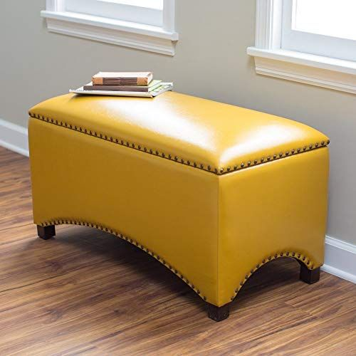 Amazing Offer On Premium Nailhead Storage Bench Modern Leather Window Seating Organizer Home Furniture Living Room Bedroom Entryway Indoor Flip Top Mustard Y In 2020 Leather Storage Bench Storage Ottoman