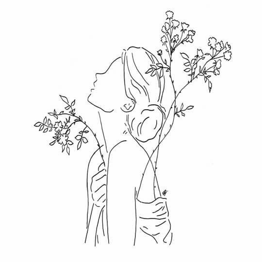 Outline Drawing Of A Woman With Flowers Simple Outline Art Outline Drawings Art Inspiration