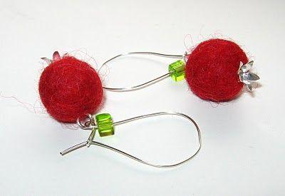 felted apple earrings