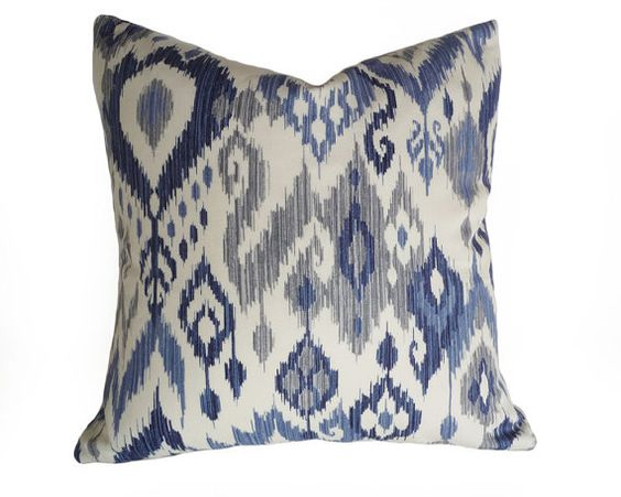 White Coastal Throw Pillows : Blue White Ikat Pillows, Coastal Pillow Covers, 12x18 Lumbar, Beach House Decor, Navy Blue ...