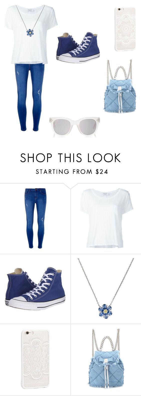"""""""Blue and White"""" by sara-beatrice-lazar ❤ liked on Polyvore featuring Dorothy Perkins, Frame Denim, Converse, Tiffany & Co., JFR, Salvatore Ferragamo and Spektre"""