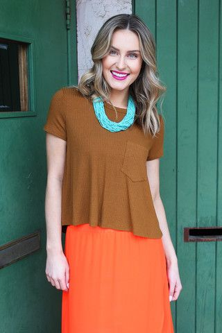 Caramel Ribbed Crop Top