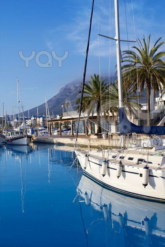 Boats moored in Denia marina in Alicante, Spain. I