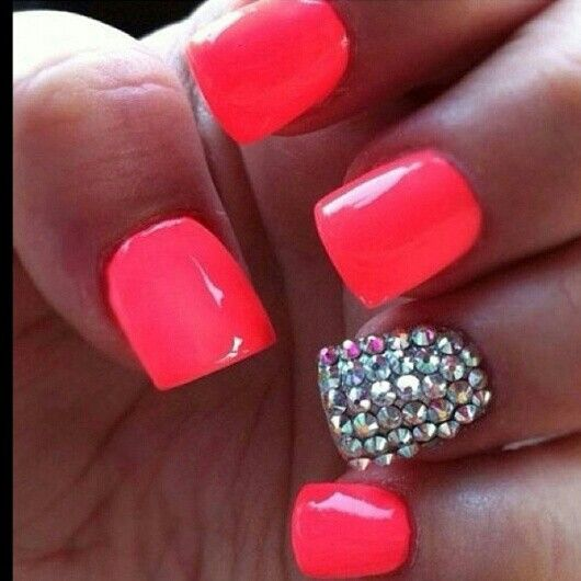 hot pink acrylic nails with diamonds nail ideas