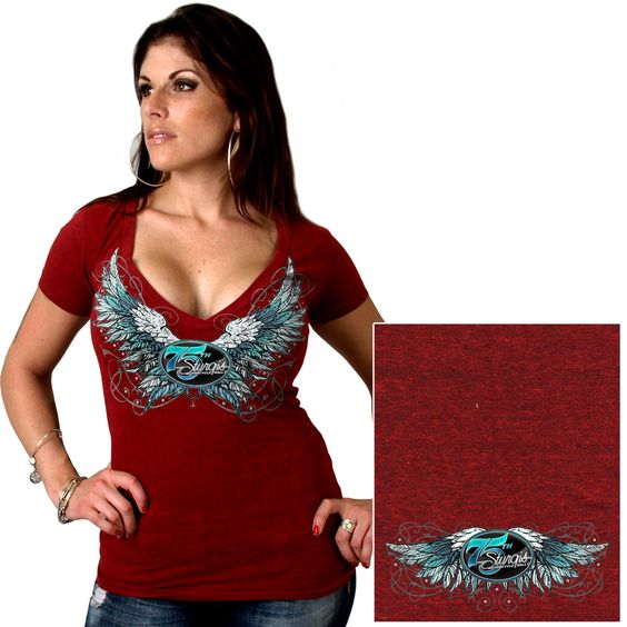 Official 2015 Sturgis Motorcycle Rally Sparkle Wings Ladies Heather Red T-Shirt