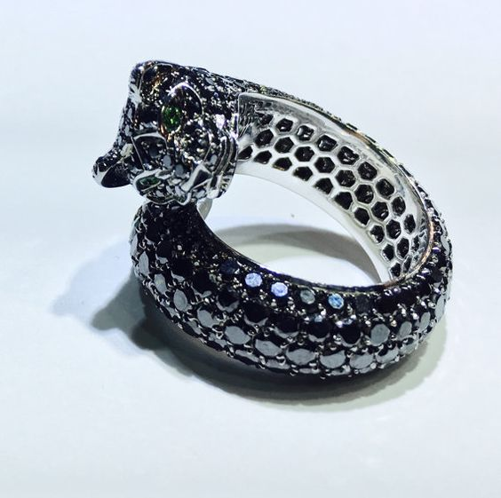Hey, I found this really awesome Etsy listing at https://www.etsy.com/listing/384467616/black-diamonds-ring-18k-statement-ring