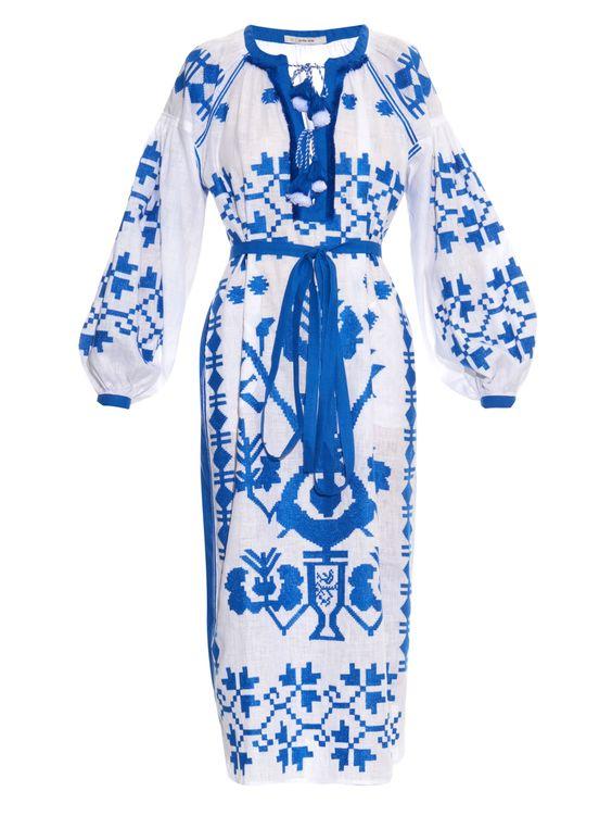 Embroidered linen midi dress | Vita Kin | MATCHESFASHION.COM