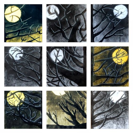 Easy Spooky Halloween Trees tutorial: Art for Primary Children by Elle and Lou