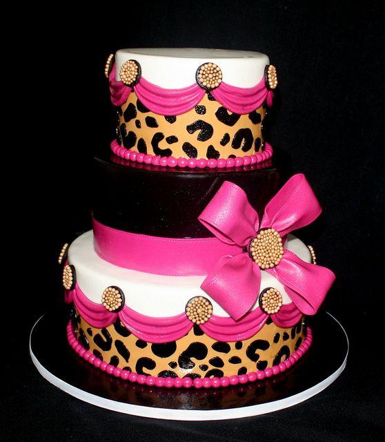 pink leopard cake