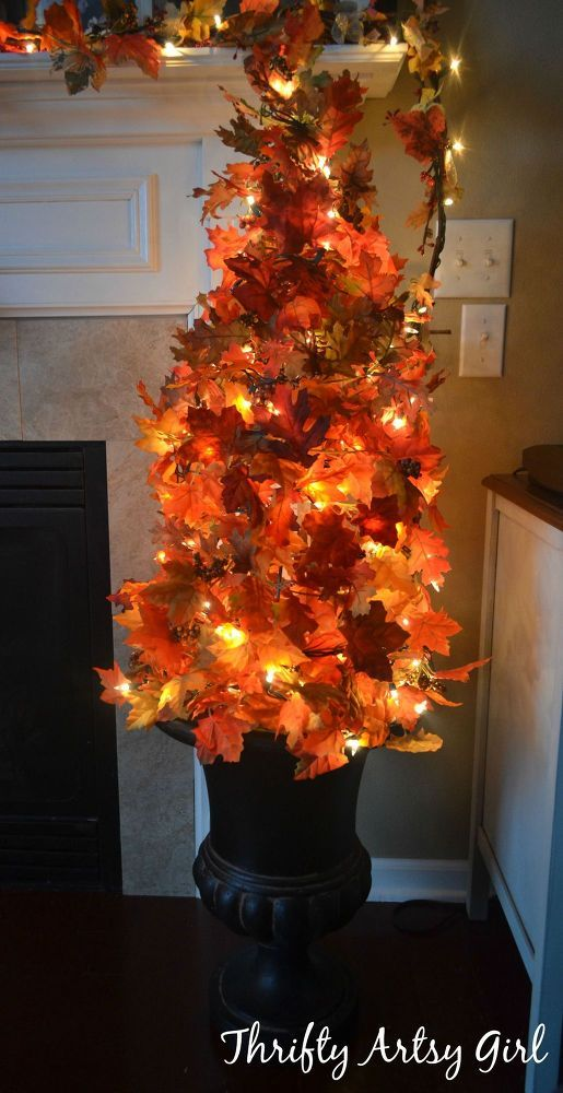 Easy DIY Fall Leaves Potted Topiary Tree From a Tomato Cage Front - halloween lighted decorations