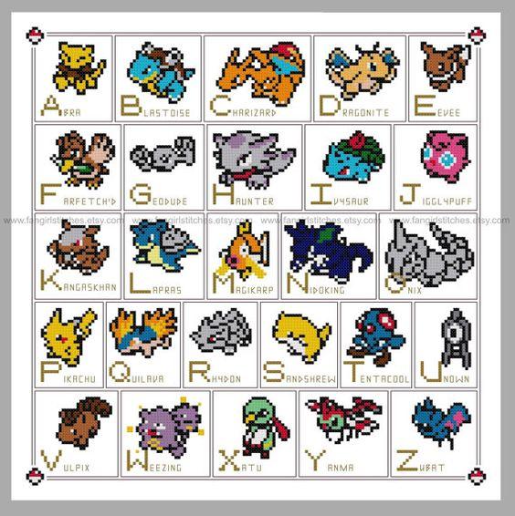Pokemon Alphabet ABC Cross Stitch  PDF Pattern  by FangirlStitches, $7.00