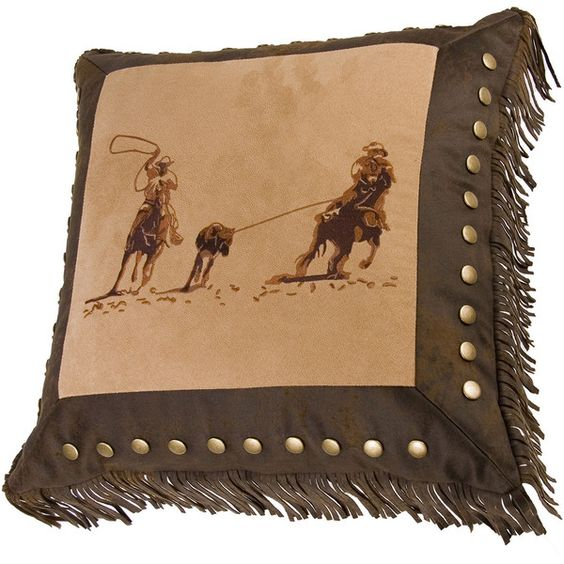 HiEnd Accents Barbwire Team Roper Square Decorative Pillow (€99) ❤ liked on Polyvore featuring home, home decor, throw pillows, western home decor, western throw pillows, dark brown throw pillows, square throw pillows and chocolate brown throw pillows