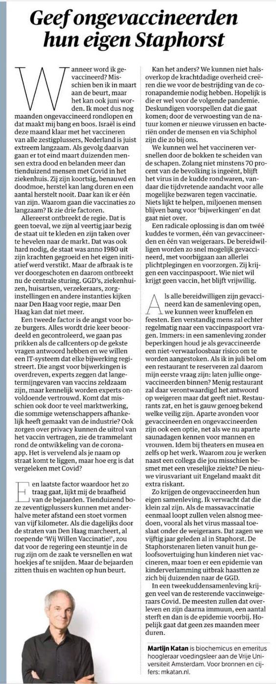 'Geef ongevaccineerden hun eigen Staphorst'