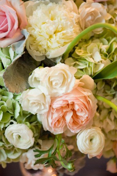 roses, hydrangea, ranuculus...love these together...wonder what they would look in blues and whites