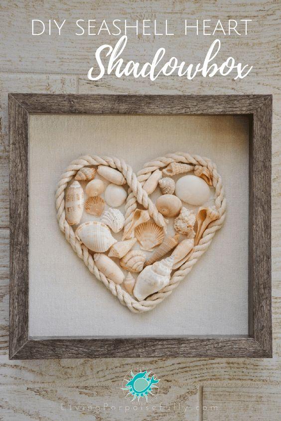 DIY Seashell Heart Shadowbox