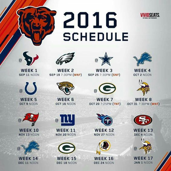 The Chicago Bears 2016 Schedule.
