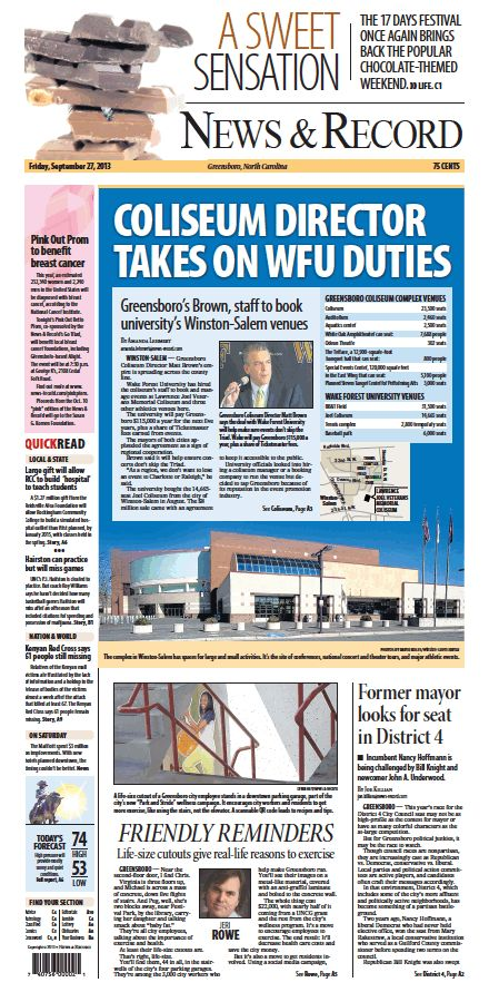 Front page Sept. 27, 2013 www.news-record.com