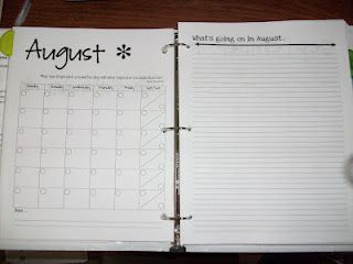 Teacher Binder - focus calendar on left with notes page on right...