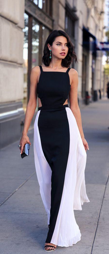 Black-White Patchwork Shoulder-Strap Collarless U-neck Maxi Dress ...