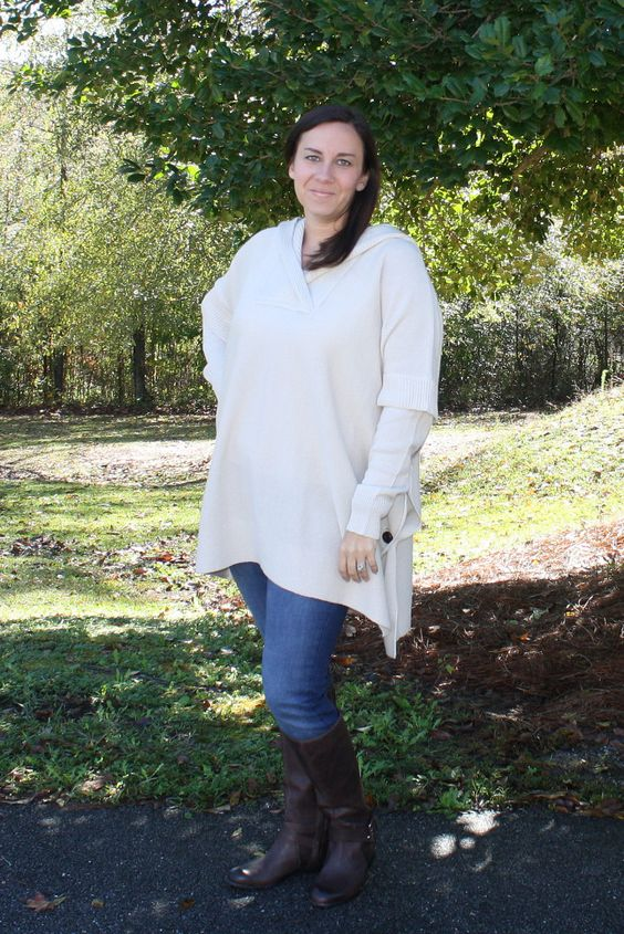 Stitch Fix RD Style Calandra Side Button Hooded Poncho & Mavi Frieda Skinny Jeans
