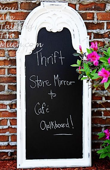 You're talking too much......: Thrift store mirror to cafe chalkboard