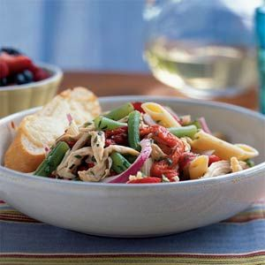 Chicken-Penne Salad with Green Beans  To quickly prepare the beans in this recipe, trim just the stem ends, leaving the tapered blossom ends intact. Line up 5 or 6 beans at a time and cut them roughly the same length as the pasta. You can have an entire meal ready in about 35 minutes.