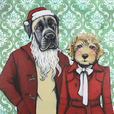 Holiday Dogs Matte Print From Painting by by HeatherMattoonArt