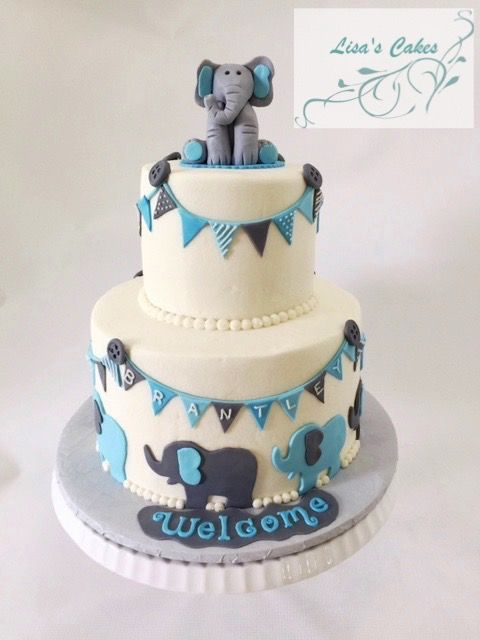 Elephant Themed Baby Shower Cake For Boy Elephant Baby Shower