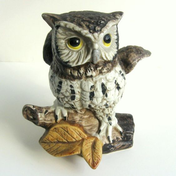Vintage 1970s Owl Figurine -- Homco Ceramic Grey, White ...