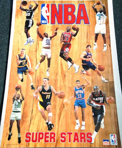 NBA SUPERSTARS 1993 Action Poster MICHAEL JORDAN, Chris Mullin, Mark Price, ++++ - Sold for $19.99 May 2013