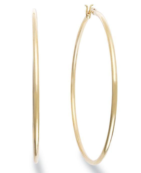 Giani Bernini 24k Gold over Sterling Silver Earrings, Large Hoop Earrings