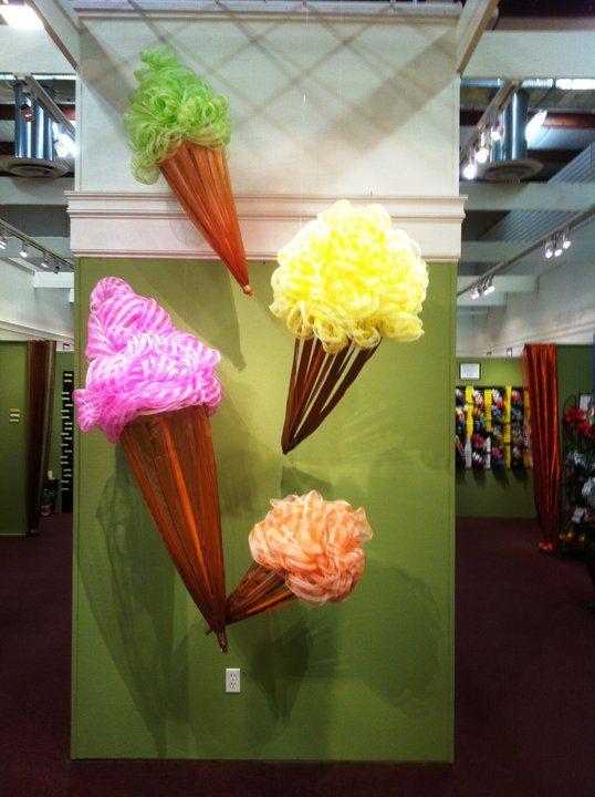 Ice cream cones made with geomesh/deco mesh
