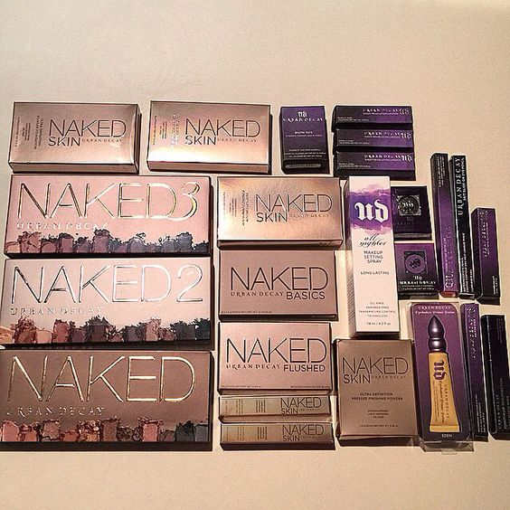 """Urban Decay. Currently I have 3-4 UD makeup products- I have the first Naked palette, """"Blackmail"""" matte revolution lipstick, All Nighter Setting Spray and four wee samples of their primer potions which came as part of my naked palette."""