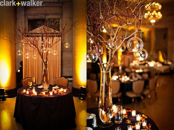Wedding centerpiece rustic branch twig hanging tea for Twig centerpieces for weddings