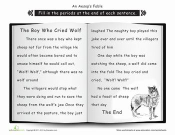 the boy who cried wolf writing activity