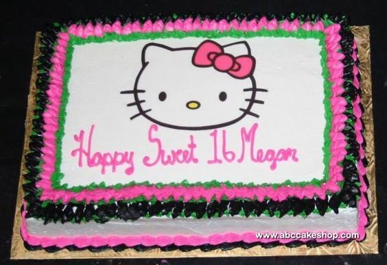 Sweet 16 Sheet Cake Ideas | hello kitty sweet 16 item 1424 this sweet sixteen birthday cake ...