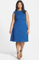 Adrianna Papell Spliced Sleeveless Fit & Flare Dress (Plus Size)
