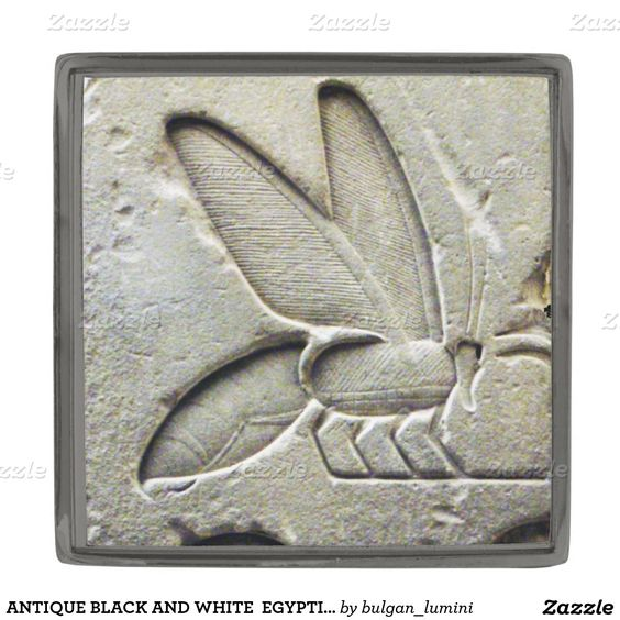 ANTIQUE BLACK AND WHITE  EGYPTIAN HONEY BEE GUNMETAL FINISH LAPEL PIN