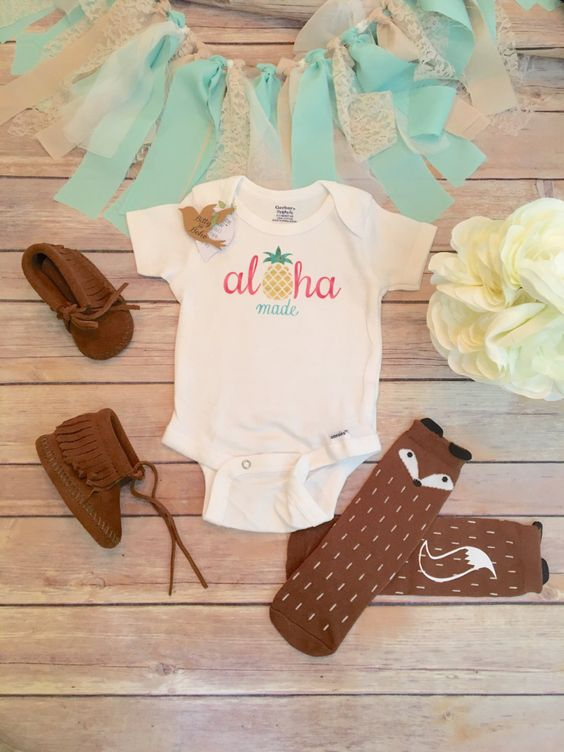 Aloha Baby Onesie®, Baby Shower Gift, Pineapple Onesie, Hipster Baby, Cute Baby Clothes, Hawaii Baby, Baby Girl Clothes, Baby Bodysuit
