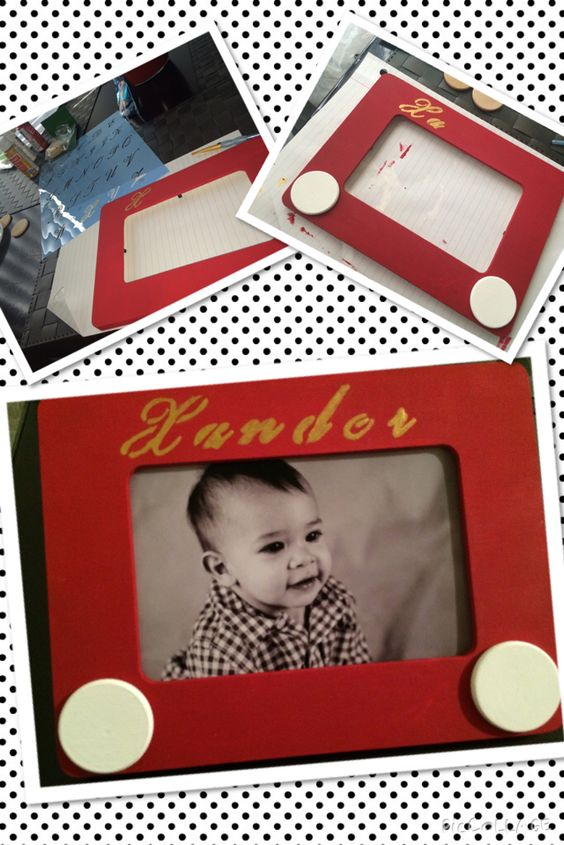Etch A Sketch Centerpieces for Toy Story theme birthday.
