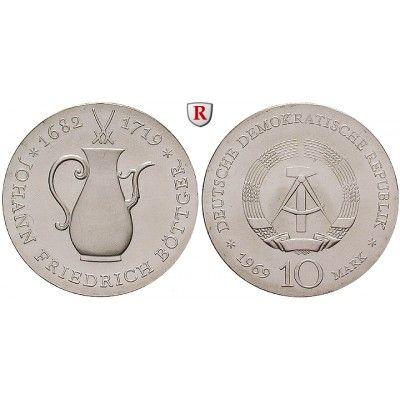 DDR, 10 Mark 1969, Böttger, st, J. 1527: 10 Mark 1969. Böttger. J. 1527; stempelfrisch 28,00€ #coins
