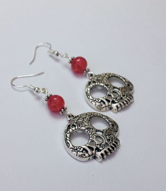 Large Silver Coloured Skull Earrings with Red Beads £4.00