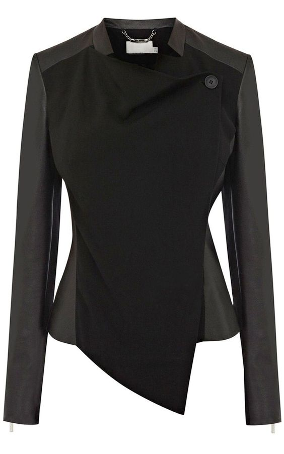 Black Contrast Leather Long Sleeve Crop Jacket